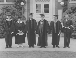 First page of Honorary degree recipients posing after commencement exercises
