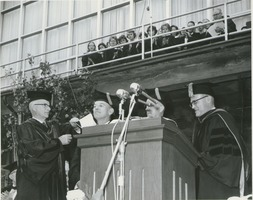First page of Richard Gettell at his hooding ceremony during the Centennial Convocation