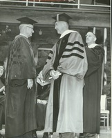 First page of Calvin Plimpton at his hooding ceremony during the Centennial Convocation