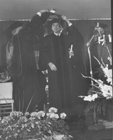 First page of Glenn Seaborg at his hooding ceremony during the Centennial Charter Day convocation
