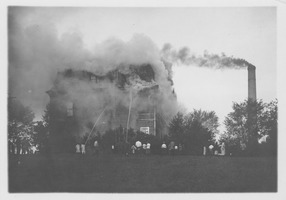 First page of Chemistry Building (also known as College Hall) in flames, Massachusetts       Agricultural College