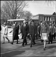 First page of Memorial march for Martin Luther King., Jr., led by Linus Pauling Pauling at the front of a ground of marchers, Memorial Hall in background