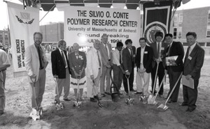 First page of Ceremonial groundbreaking: group of polymer scientists including Corinne Conte             (third from left) and Dick Stein (fourth from left)