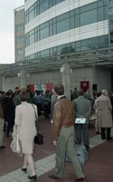 First page of Dedication ceremonies for the Conte Polymer Center: crowd milling outside the building