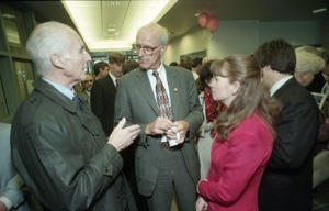First page of Dedication ceremonies for the Conte Polymer Center: John Olver mingling at the reception