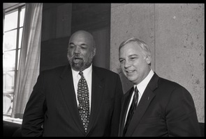 First page of Jack Canfield (right) posed with Bailey W. Jackson of the UMass Amherst School of Education