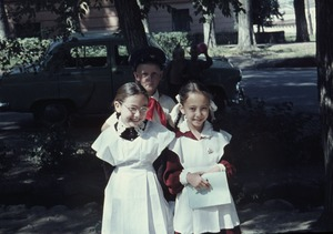 Thumbnail of Three children in uniforms