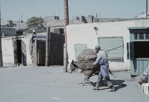 Thumbnail of Man leading donkey loaded with cotton