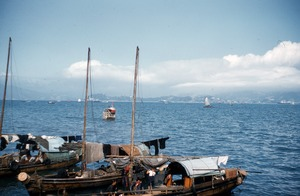 Thumbnail of Three moored sampans