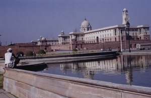 Thumbnail of Man sits near pool near Rashtrapati Bhavan