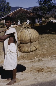 Thumbnail of Man carrying basket of chicken manure near Ranchi