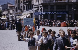 Thumbnail of Elementary schoolboys at national celebration in Skopje