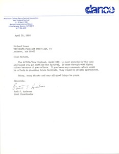 Thumbnail of Letter from the American College Dance Festival Association to Richard Jones