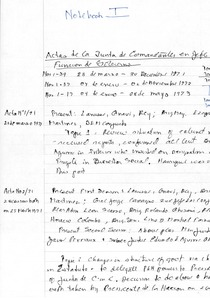 Thumbnail of Notes: sessions of the Junta de Comandantes en Jefe