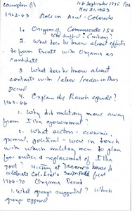 Thumbnail of Roberto M. Levingston oral history with Robert A. Potash: questions and transcript