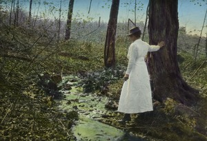 Thumbnail of Woman standing by a stream in the woods