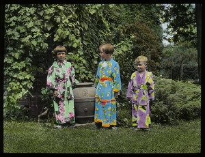 Thumbnail of Waugh garden: Children dressed up in brightly colored kimonos
