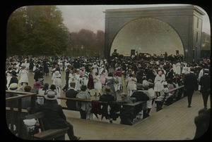 Thumbnail of Bandshell and crowded outdoor dance floor
