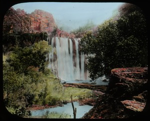 Thumbnail of CT falls in Grand Canyon (waterfall over red rock, green vegetation)