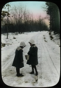 Thumbnail of Two Girls standing on snowy road