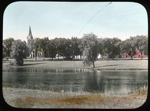 Thumbnail of Campus Pond, Old Chapel, and South College