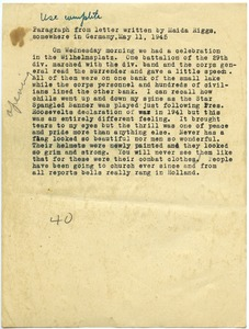 Thumbnail of Extract from letter from Maida Riggs