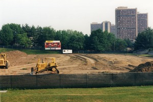 Thumbnail of Garber Field astroturf installation project. The Southwest Dormitory Complex             can be seen in the background