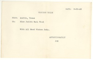 Thumbnail of Telegram from Joseph Langland to Judith G. Wood Langland