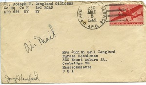 Thumbnail of Envelope from Joseph Langland to Judith G. Wood Langland