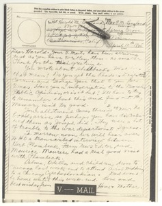 Thumbnail of V-mail from Clara M. Langland to Harold D. Langland