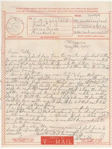 Thumbnail of V-mail from Harold D. Langland to Charles Langland