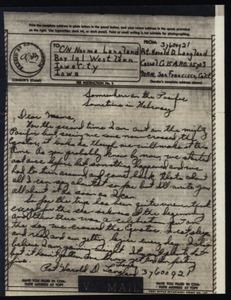 Thumbnail of V-mail from Harold D. Langland to Norma Langland