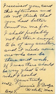 Thumbnail of Postcard from Jenni P. Dodge to Donald W. Howe