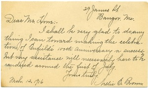 Thumbnail of Postcard from Nellie E. Brown to Donald W. Howe