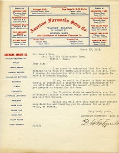 Thumbnail of Letter from American Fireworks Sales Co. to Donald W. Howe