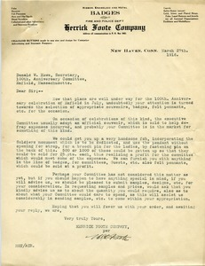 Thumbnail of Letter from Herrick Foote Company to Donald W. Howe