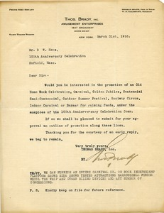 Thumbnail of Letter from Thomas Brady to Donald W. Howe