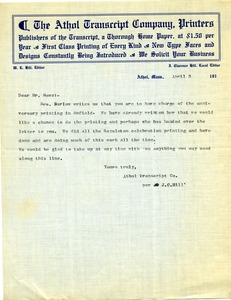 Thumbnail of Letter from Athol Transcript Co. to Donald W. Howe