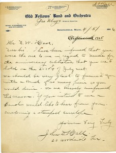 Thumbnail of Letter from Odd Fellows' Band and Orchestra to Donald W. Howe