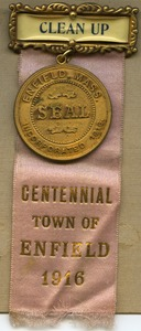 Thumbnail of 'Clean up' badge and Enfield Centennial medallion