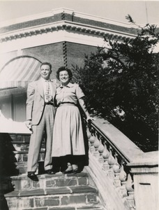 Thumbnail of Abraham Ozer and Ruth Newman, posing on steps