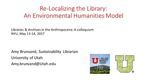 Thumbnail of Re-localizing the library Environmental humanities models