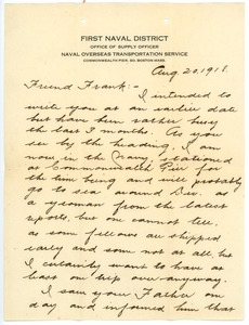 Thumbnail of Letter from Jim Watson to Frank F. Newth