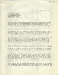 Thumbnail of Letter from Caleb Foote to Correll M. Julian