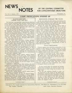 Thumbnail of News Notes of the Central Committee for Conscientious Objectors Vol. 1, no. 1