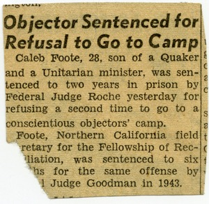 Thumbnail of Objector sentenced for refusal to go to camp