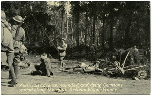 Thumbnail of American advance, wounded and dying Germans spread along the road, Belleau Wood, France