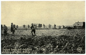 Thumbnail of English tanks and American infantry in action, France