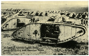Thumbnail of A  flock of fighting English tanks ready for action with American troops, France