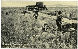Thumbnail of Whippet tank in action, troops digging in, France